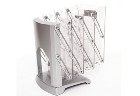 The Brochure stand folds up and down like an accordion.