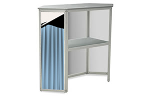 The interior shelf offers space for extra material.